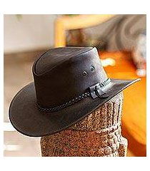 men's leather hat, 'outback ranger in black' (mexico)
