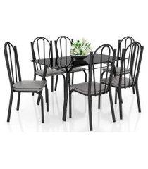 jogo de mesa lótus tampo de vidro e 6 cadeiras 121 preto/platina - artefamol