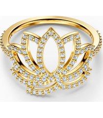 anello swarovski symbolic lotus, bianco, placcato color oro