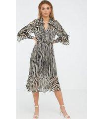 river island long sleeve ruffle midi shirt klänningar