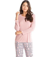 pijama longo estampado taís