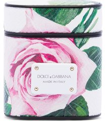 dolce & gabbana floral-print leather airpods case - white