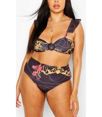 plus chain print high waist bikini, black