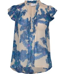 top w. smock and frill details blouses short-sleeved blå coster copenhagen