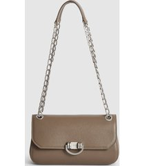 reiss lexi medium - leather shoulder bag in taupe, womens