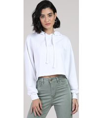 """blusão feminino cropped """"brooklyn"""" em moletom com capuz branco"""