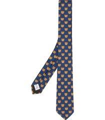 moschino teddy print scarf - blue