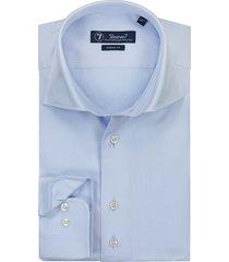 sleeve7 heren overhemd licht dobby luxe fijne streep blauw