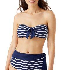 tommy bahama women's printed bandeau bikini top - navy - size xl