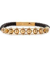 andrew goldtone & leather beaded bracelet