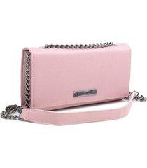 bolsa clutch feminina transversal alã§a corrente dia a dia rosa - rosa - feminino - dafiti