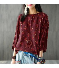 zanzea mujeres retro floral impresos 3/4 manga tops blusas suéter de cuello redondo señoras del otoño floja ocasional top blusa de la camisa vino tinto -rojo
