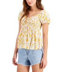 derek heart juniors' babydoll puff-sleeve top