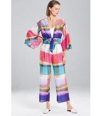 brushstroke plaid pants, women's, silk, size xl, josie natori