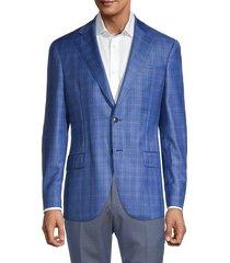 lubiam men's standard-fit plaid virgin wool jacket - turquoise - size 58 (48)