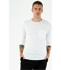 camiseta de hombre, cuello redondo, manga larga, color blanco