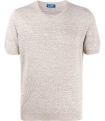 barba crew neck fine knit t-shirt - neutrals