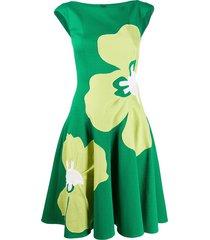 talbot runhof floral print waffle piqué dress - green