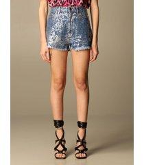 just cavalli short just cavalli shorts in laminated denim