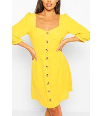 linnen skater jurk met vierkante hals en knopen, mosterd