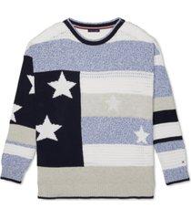 tommy hilfiger adaptive women's amy cotton stars & stripes velcro closure sweater