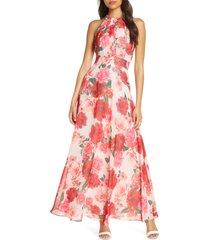 women's eliza j floral print halter maxi dress, size 0 - pink
