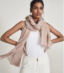 reiss heidi - wool cashmere lightweight scarf in blush, womens