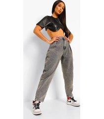 oversized geplooide spijkerbroek, grijs