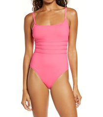 women's la blanca strappy mio one-piece swimsuit, size 12 - pink