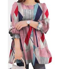 camicetta con scollo a manica lunga con stampa geometrica da donna