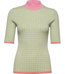 5205 - tanis high n t-shirts & tops knitted t-shirts/tops multi/mönstrad sand