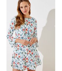 loft floral tie back bell sleeve dress