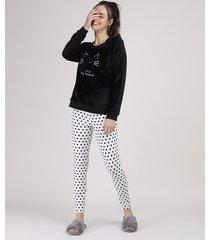 pijama de plush feminino com bordado de gato estampado de poá manga longa preto