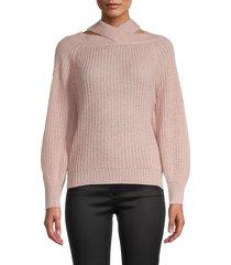 full circle women's bubble-sleeve sweater - pale mauve - size l