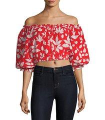 alexa off-the-shoulder crop blouse