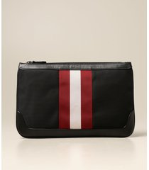 bally wallet cayard bally clutch bag in canvas and leather with striped band
