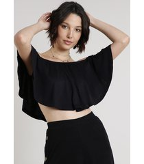 blusa feminina ciganinha cropped manga curta preta