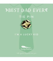 lucky feather best dad ever clover tie pin