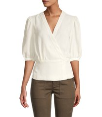 bcbgmaxazria women's puffed-sleeve wrap top - off white - size s