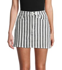 le mini stripe denim skirt