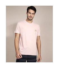 camiseta coqueiros manga curta gola careca rosa
