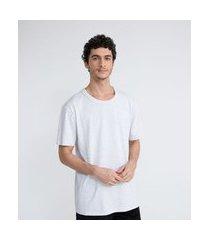 camiseta manga curta mescla em algodão malha rústica easy fit | blue steel | cinza | pp