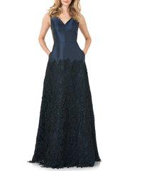 women's kay unger guipure lace mikado a-line gown, size 10 - black