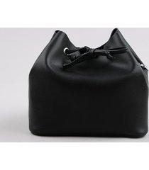 bolsa feminina bucket média transversal alça com corrente preta