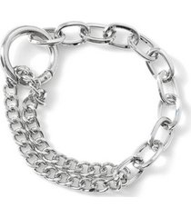 mens metallic silver chain bracelet*