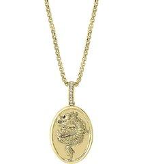 effy men's 14k gold & diamonds dragon pendant necklace