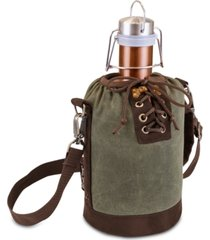 legacy by picnic time insulated khaki green & brown growler tote with 64-oz. copper stainless steel growler