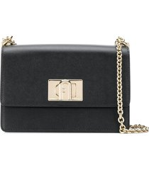 furla gold hardware crossbody bag - black