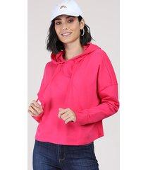 blusão feminino cropped em moletom com capuz pink