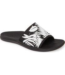 olukai punua olu slide sandal, size 9 in black/lau at nordstrom
